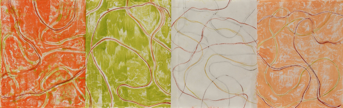Line Work Sequence #2, 2016, Encaustic monotypes on various papers, 14 x 44""