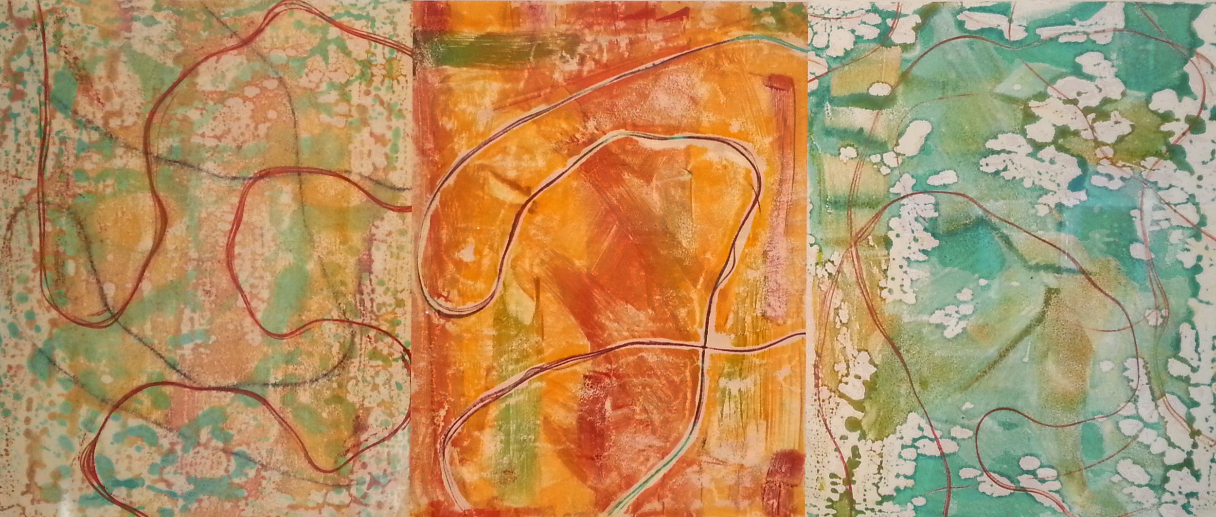 Line Work Sequence #4, 2016, Encaustic monotypes on various papers, 14 x 33""
