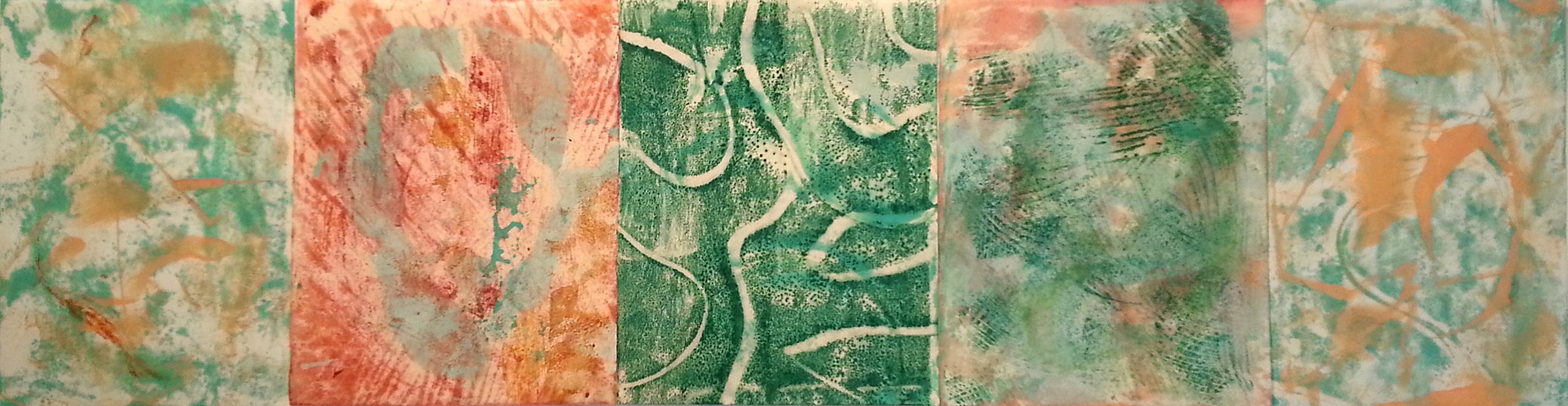 Joined Monotype #10, 2016, Encaustic monotype on various papers, thread, 7 x 26.5""