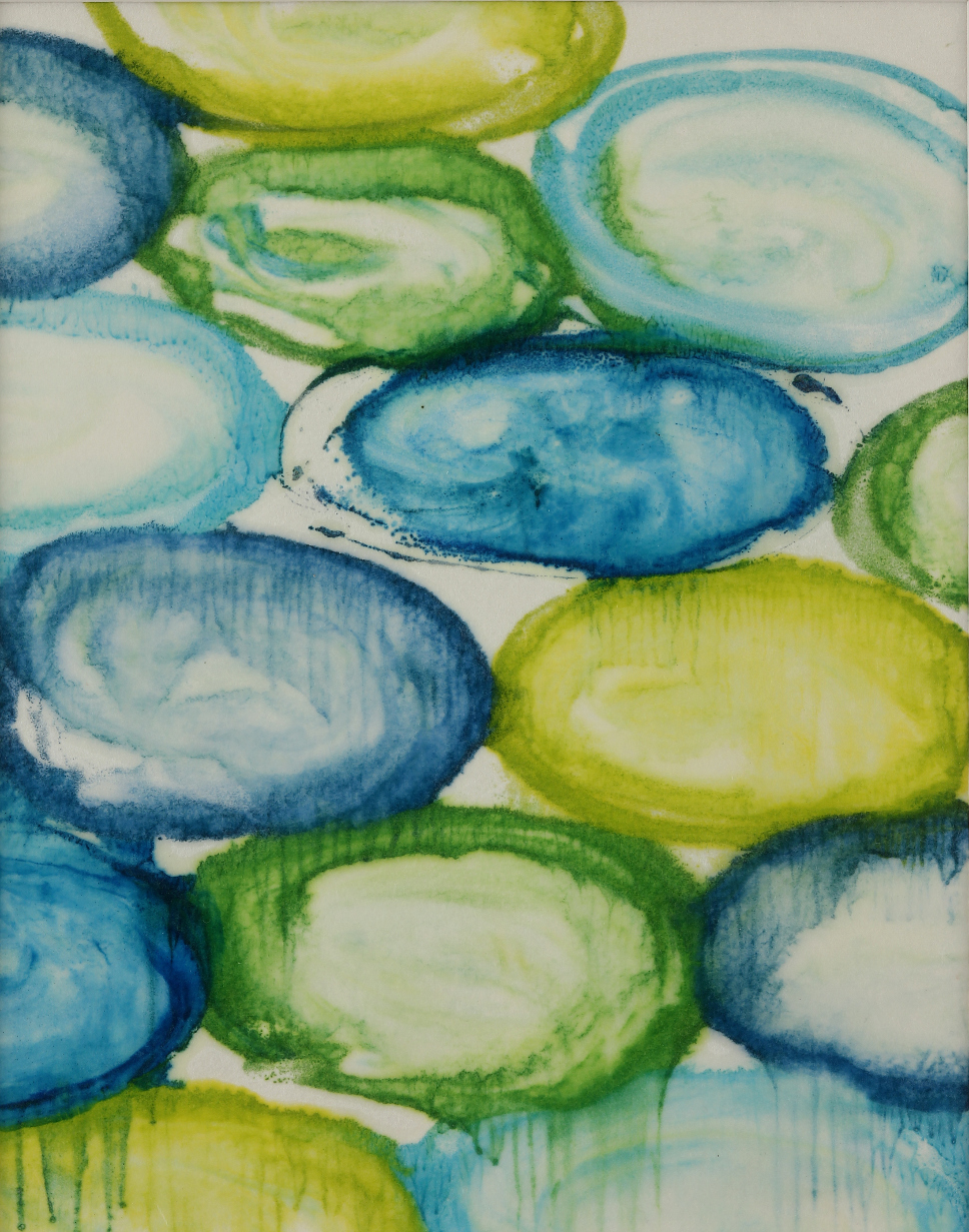 Submerge #3, 2014, Encaustic monotype on Kozo, 11 x 9""