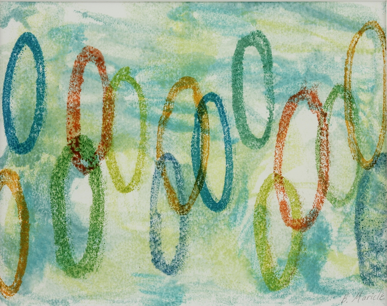 Ring Toss, Encaustic monotype, 8 x 10""