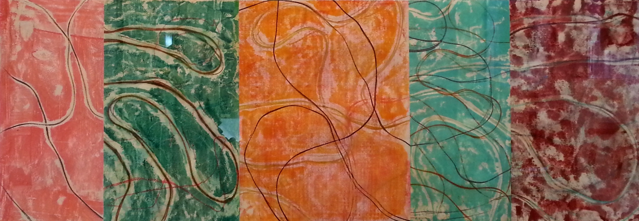 """Line Work sequence #1, Encaustic monotype, 10 x 28"""""""