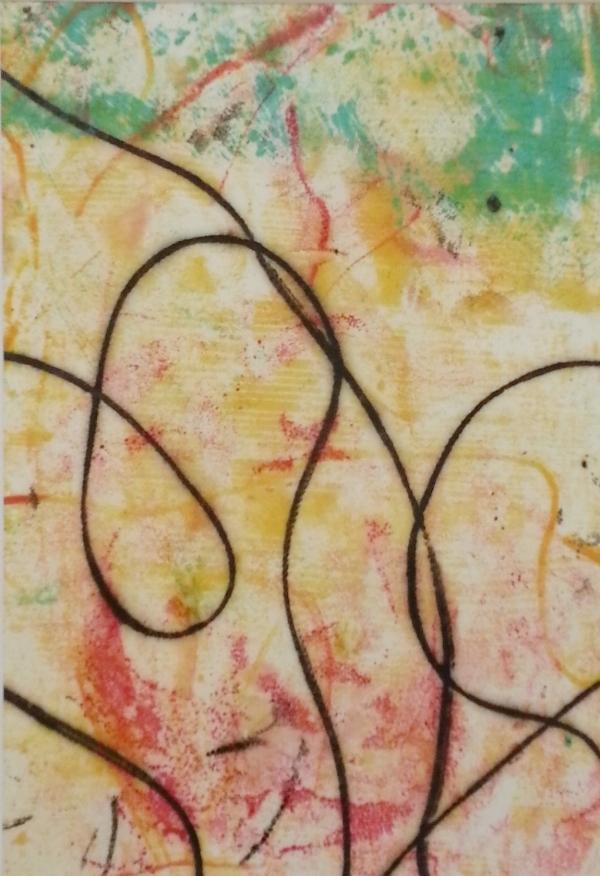 "Line Work #15, Encaustic monotype, 7 x 5"""