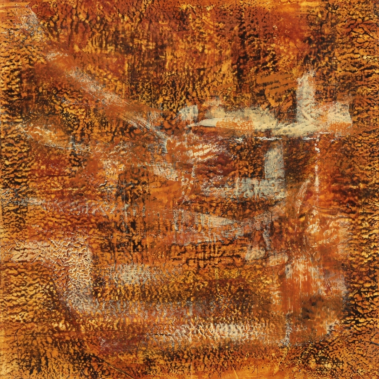 Rust #51, 2014, Rust, encaustic, India ink, oil pastel on paper on panel, 18 x 18""