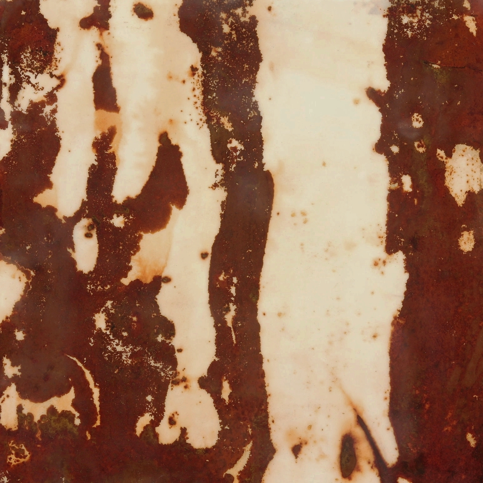 Rust #27, 2013, Rust, encaustic on paper on panel, 12 x 12""