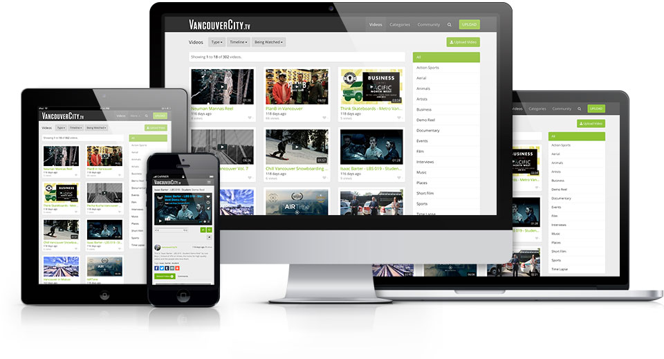 VancouverCity.tv     is a video site focused on promoting local videos in many categories such as Sports, Events, Politics, Film, Music, Artists and much more.