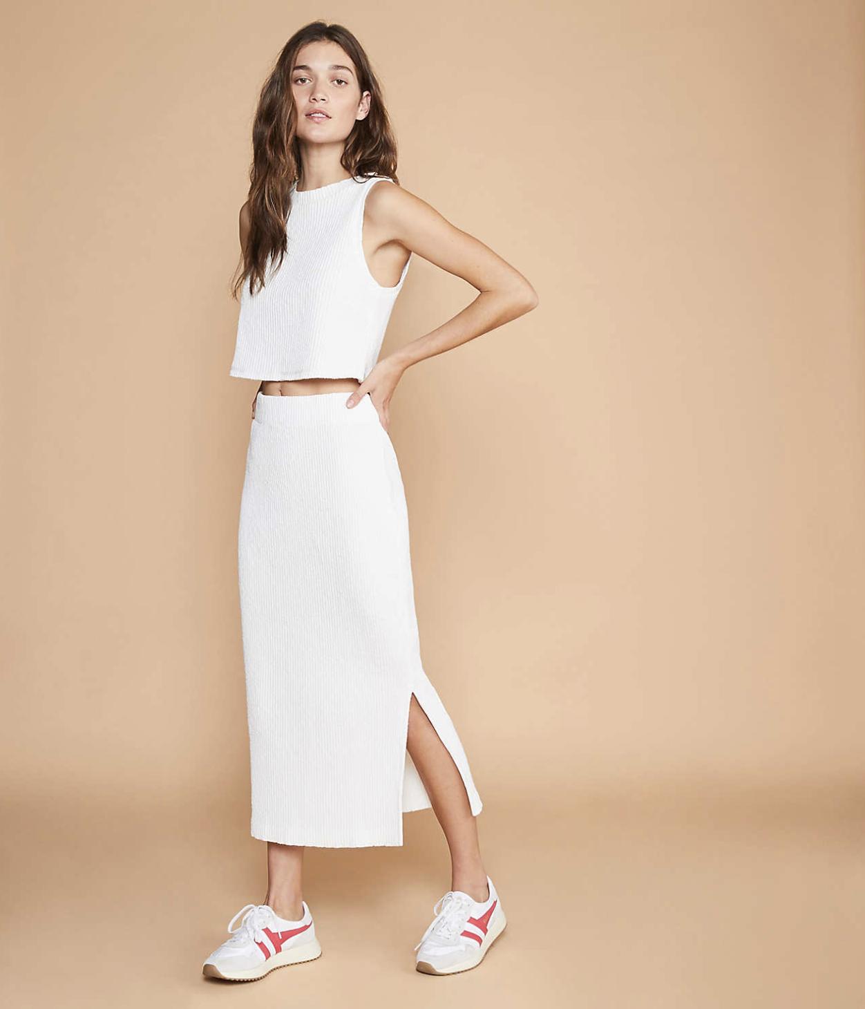 Lou & Grey Ribbed Midi Skirt