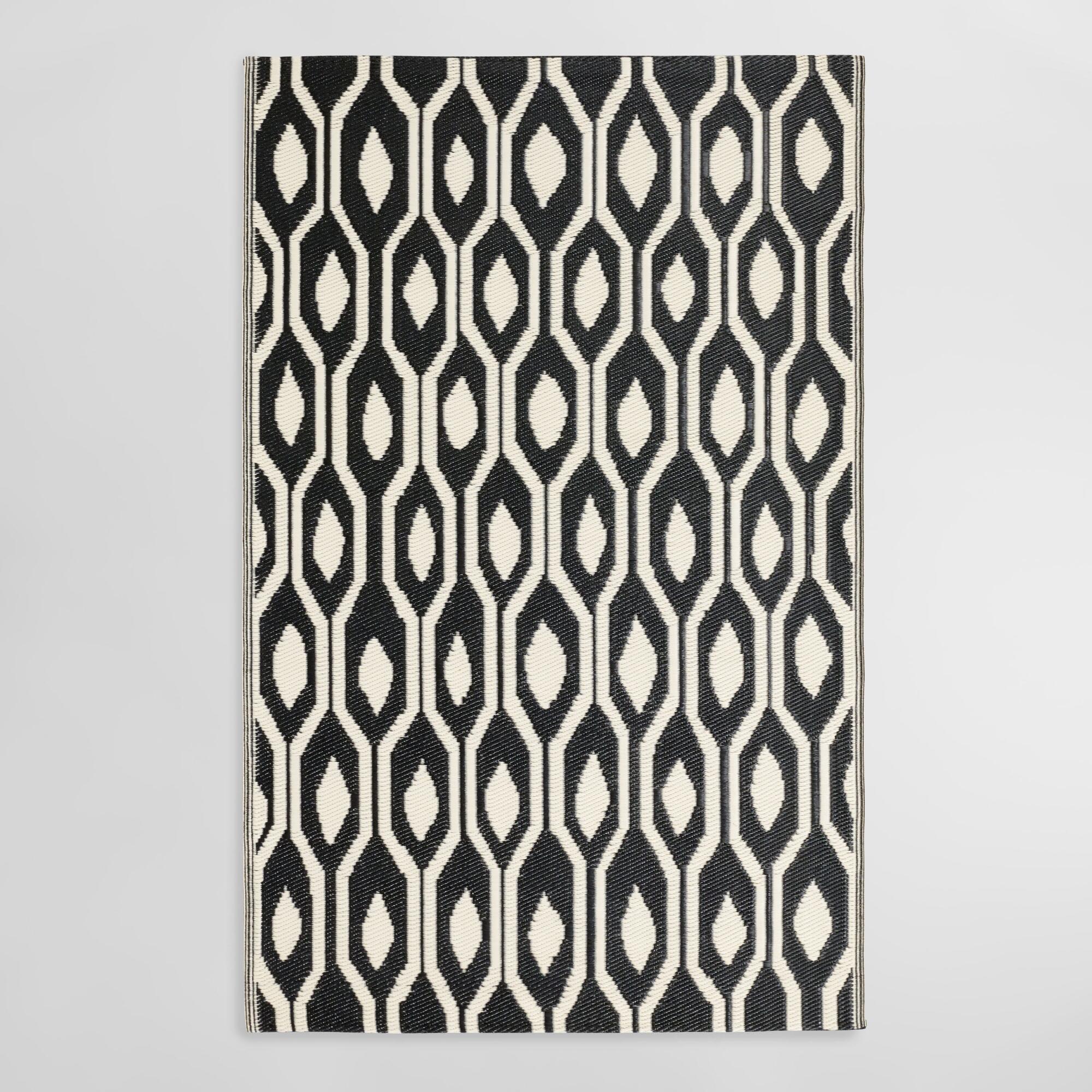 Black And Cream Reversible Indoor Outdoor Rio Floor Mat