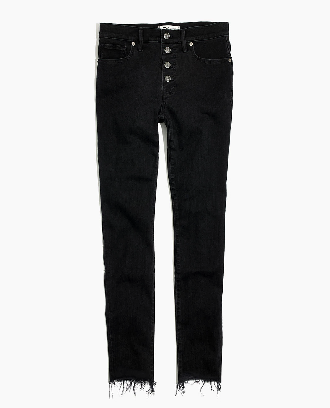 "9"" Mid-Rise Skinny Jeans in Berkeley Black: Button-Through Edition"