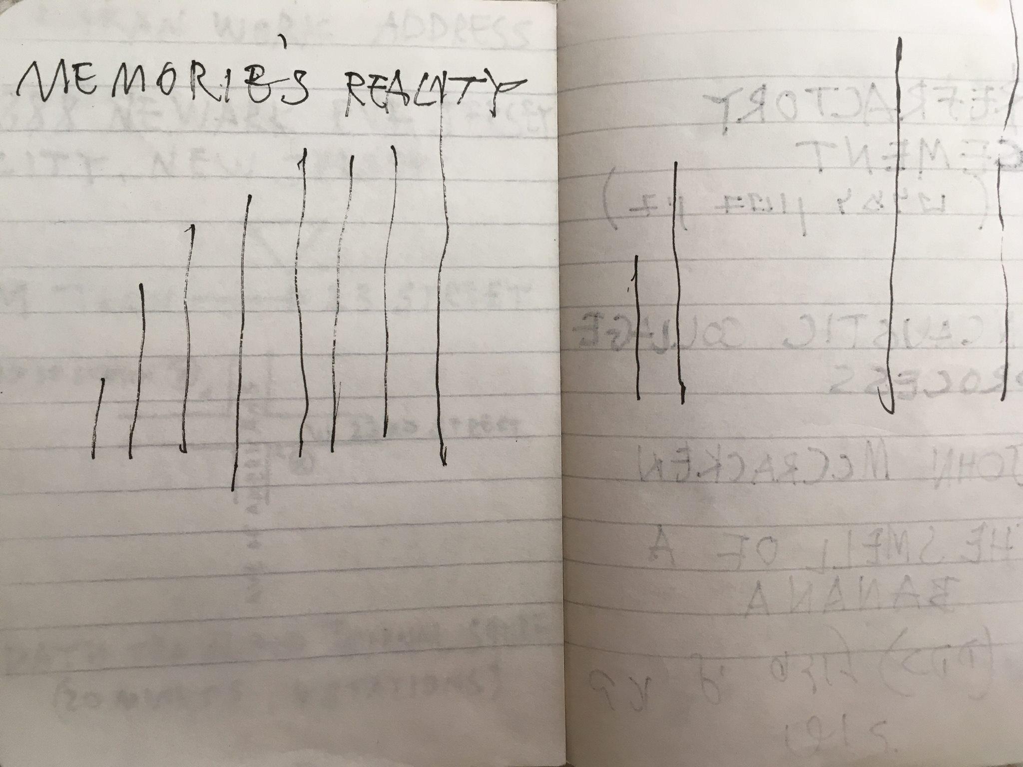 pen in notebook, 10.5x8.5 cm. 2016