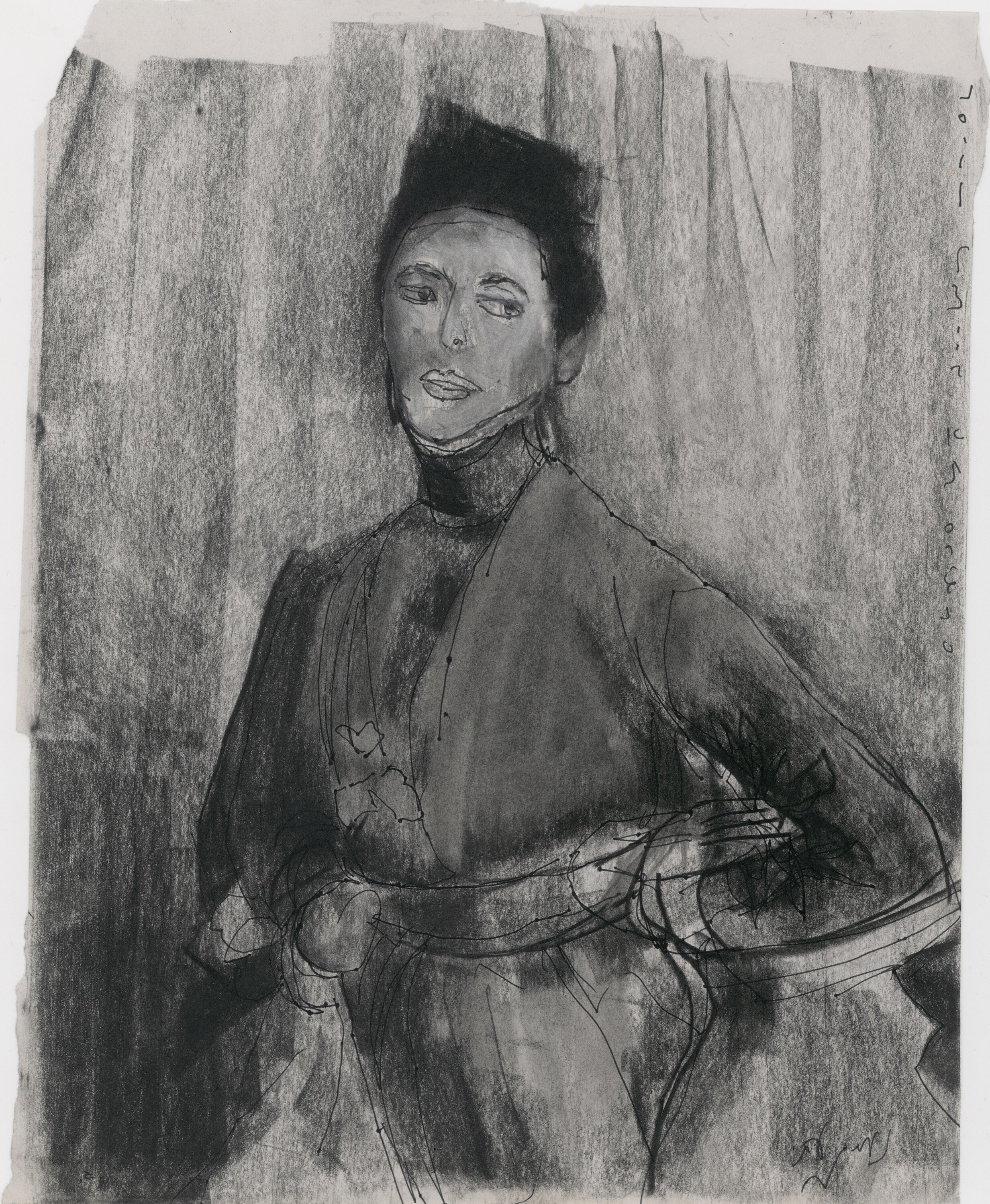 practice on  John Singer Sargent -  Miss Priestley , charcoal on paper, 2019