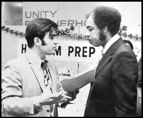 Hussein with Robert Wilkin, Harlem Prep Teacher