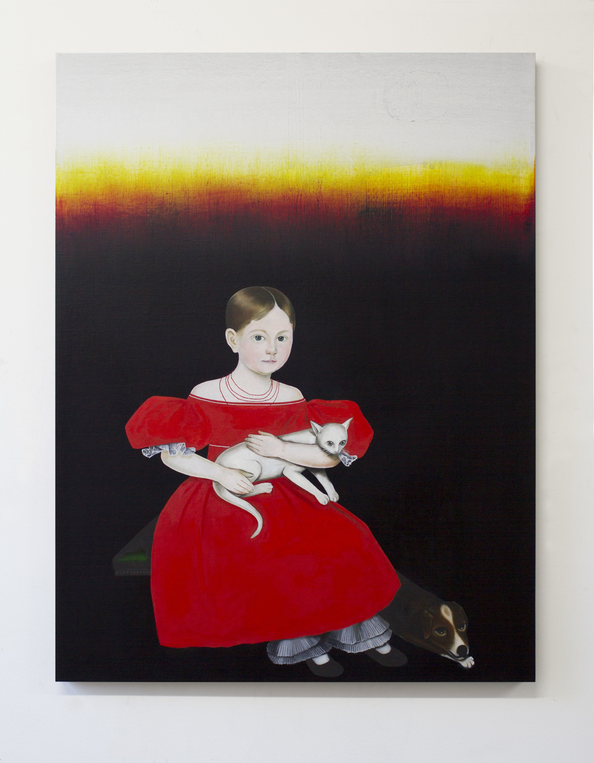 Study for a Girl in a Red Dress 2017 oil on linen 38 x 29 inches