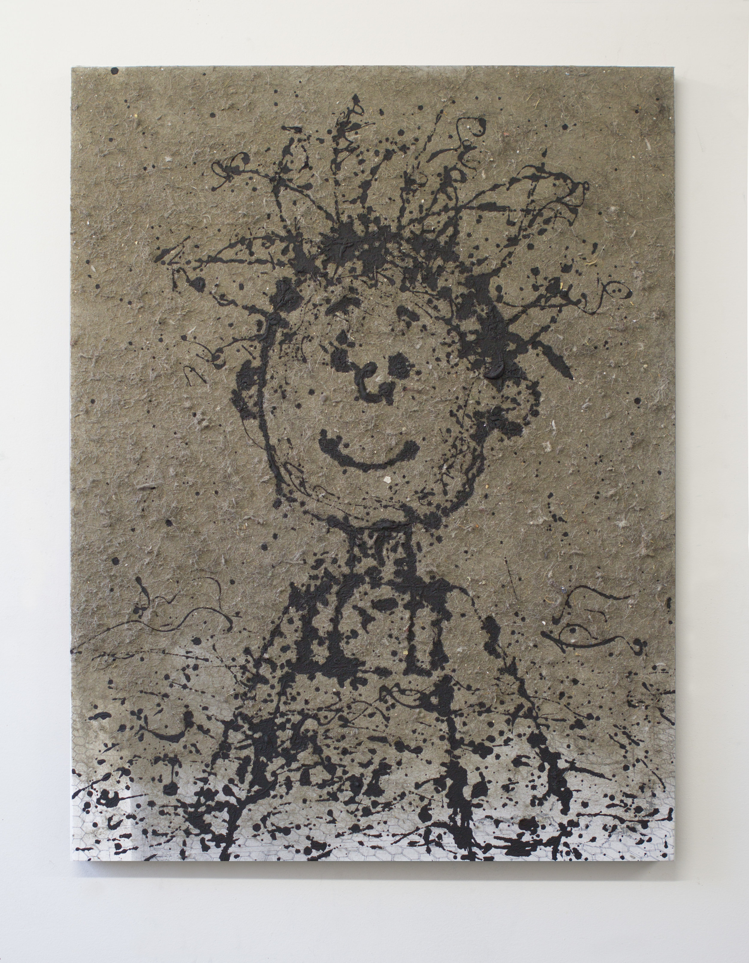 Study for Pigpen 2017 dust and enamel on linen 38 x 29 inches