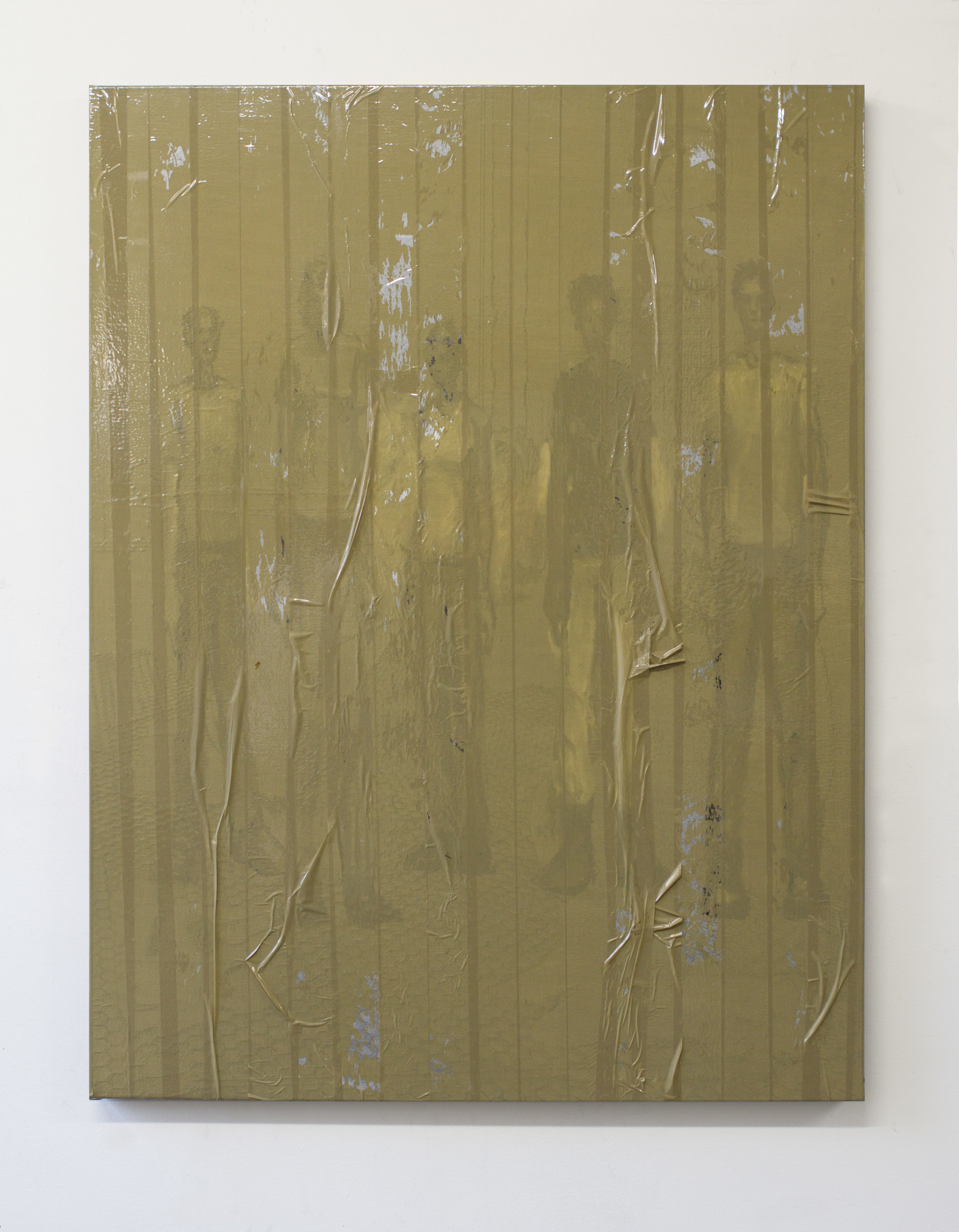Study for Punks Not Dead 2017 oil and packing tape on linen 38 x 29 inches