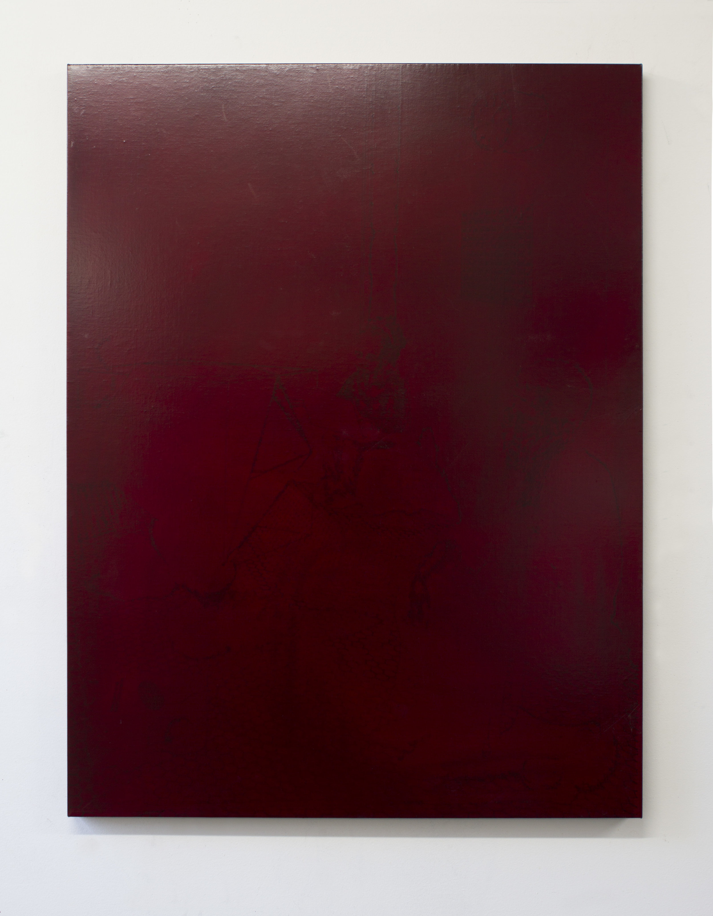 Study for Rubylith 2016 Rubylith and pigment on linen 38 x 29 inches