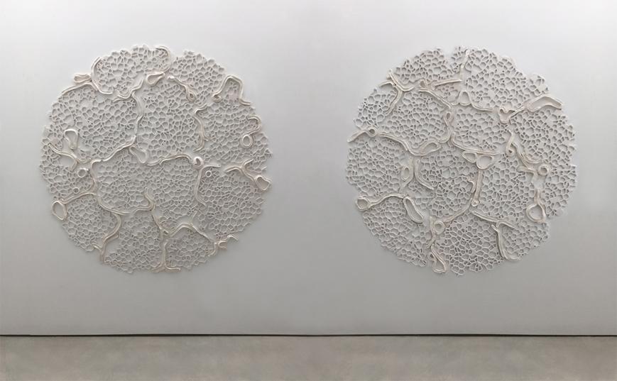 "Tondo V and Tondo VI, 2015.  Cast Resin and ceramic, 67"" diameter"