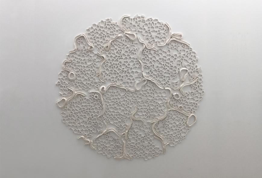 """Tondo V, 2015.  Cast Resin and ceramic, 67"""" diameter"""