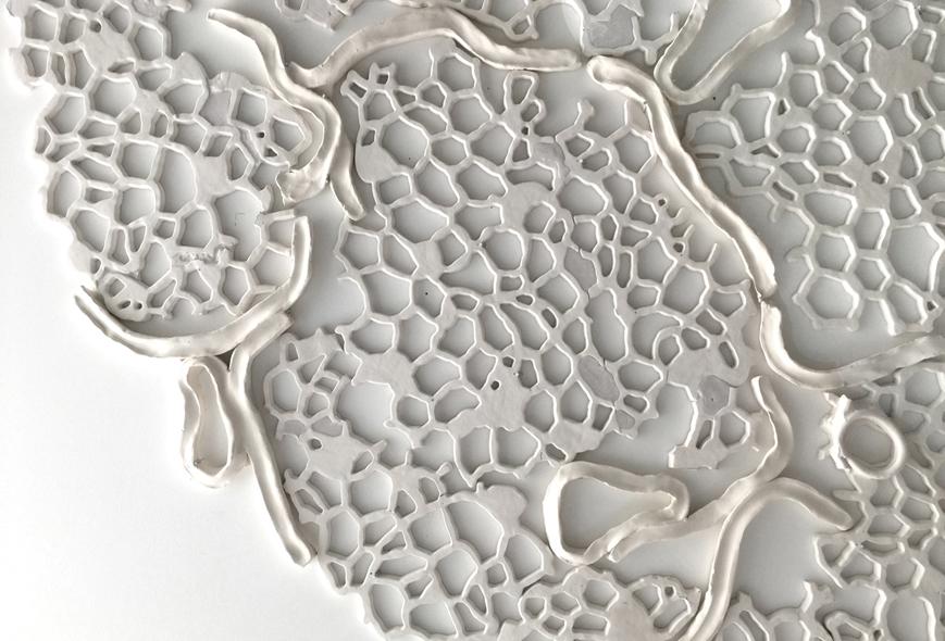 """Tondo V, detail, 2015.  Cast Resin and ceramic, 67"""" diameter"""