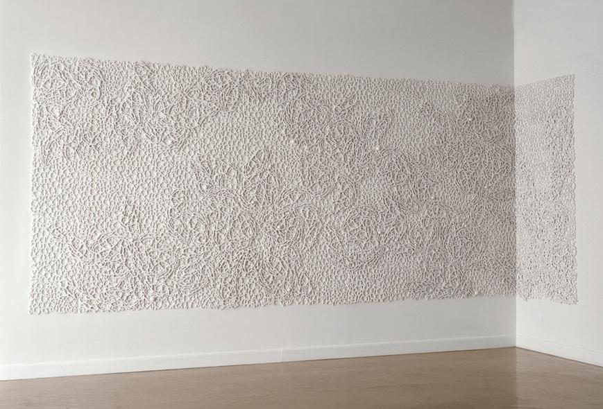 "Field I, 2007.  Cast Resin, 94""h x 206""w x 2""d and 94""h x 42""w x 2""d   Museo del Barrio, New York"