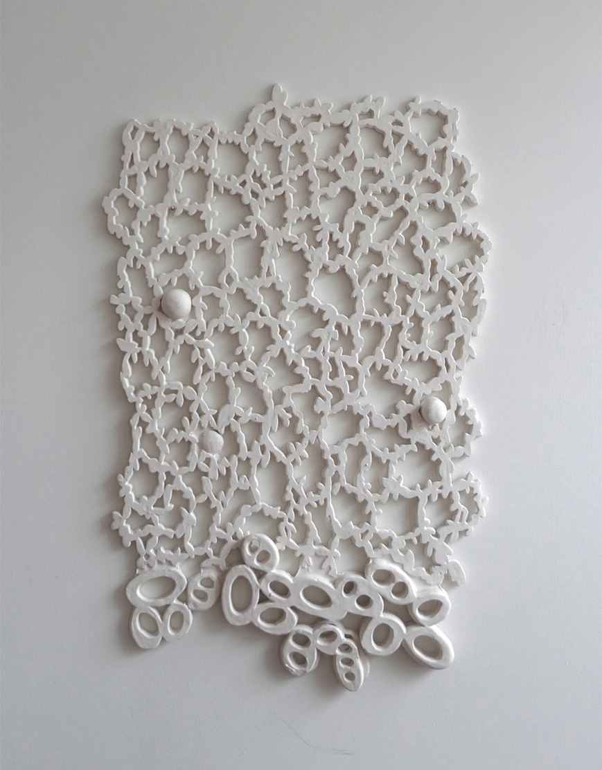 "Wall Relief, 2007. Cast Resin, 26""h x 14""w x 2""d"