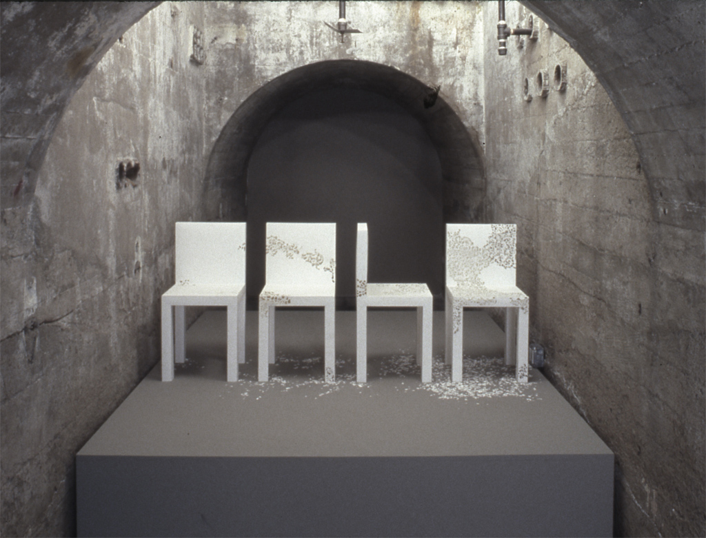"""Patience, SculptureCenter, New York, 2004.  Cardboard, 14""""d X 14""""w X 28""""h each piece."""