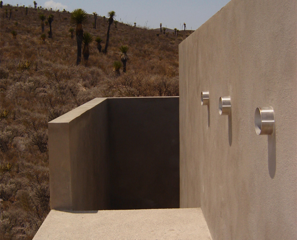 Blue Oasis, San Luis Potosi, Mexico, 2011.  Permanent collection Sculpture Park San Luis Potosi.   Detail entrance to underground space, reinforce concrete.