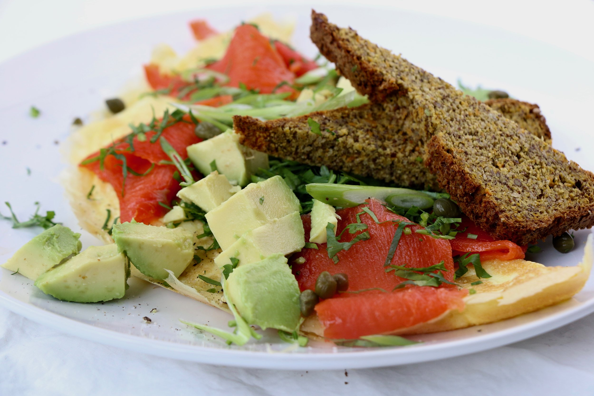 Salmon omelette - with Sweet potato protein bread