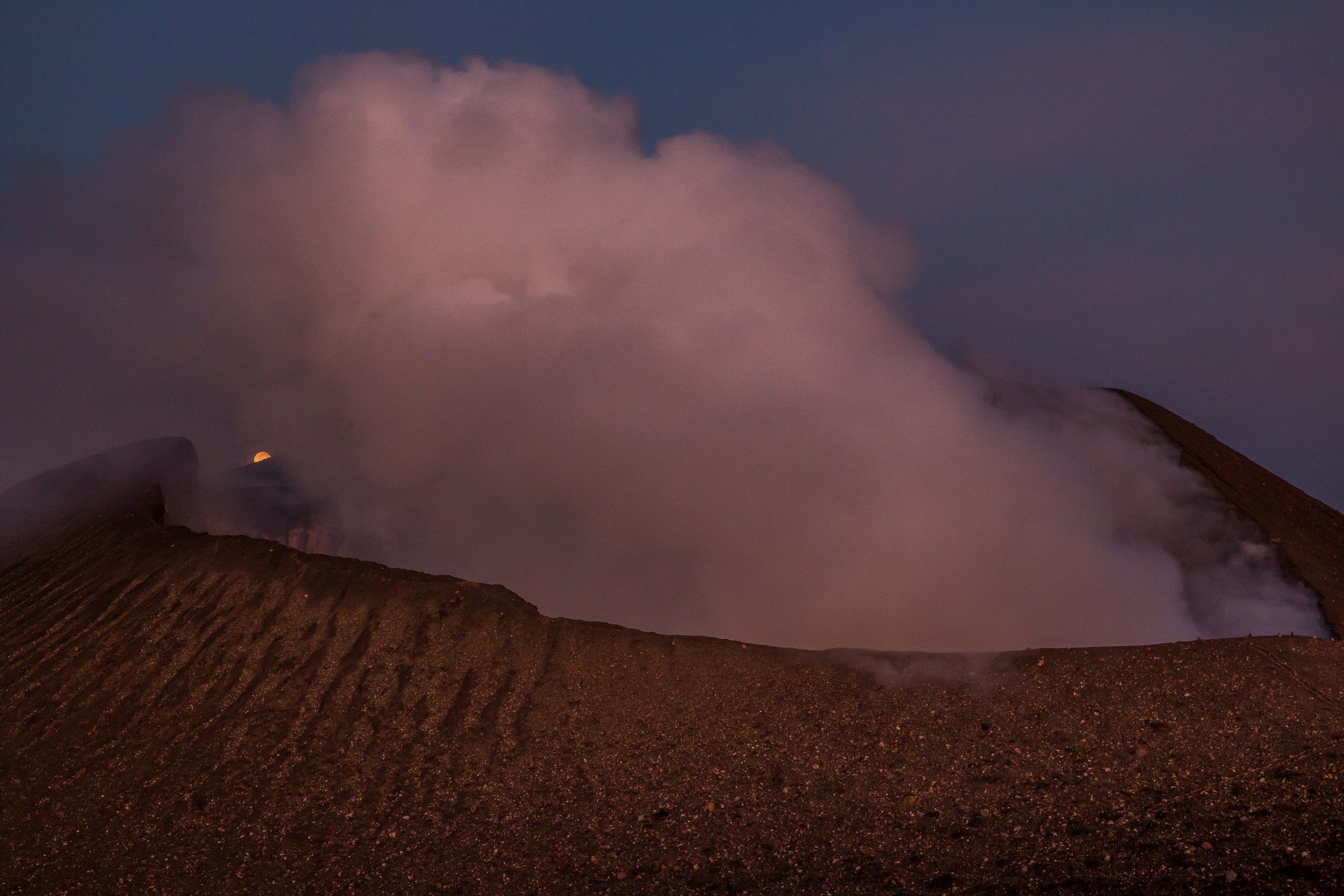 Full Moon behind the crater of Volcan Telica
