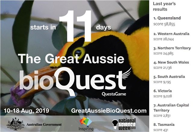 an any state beat QLD this year? Get ready for Australia's largest bioblitz - The Great Aussie BioQuest. https://greataussiebioquest.com Lots of great prizes - including for newbies!  #nationalscienceweek #scienceweek @nationalscienceweek @riaus @citsci_oz @ausacademyofscience