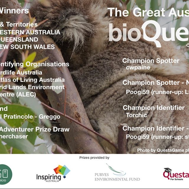 Congrats once again to the winners of the #GreatAussieBioQuest. $10k worth of cash and prizes are being distributed to the winning States and players to support STEM education and biodiversity conservation. Well done #Australia! @gomicroau @nationalscienceweek #biodiversity #environment https://GreatAussieBioQuest.com https://questaschools.com