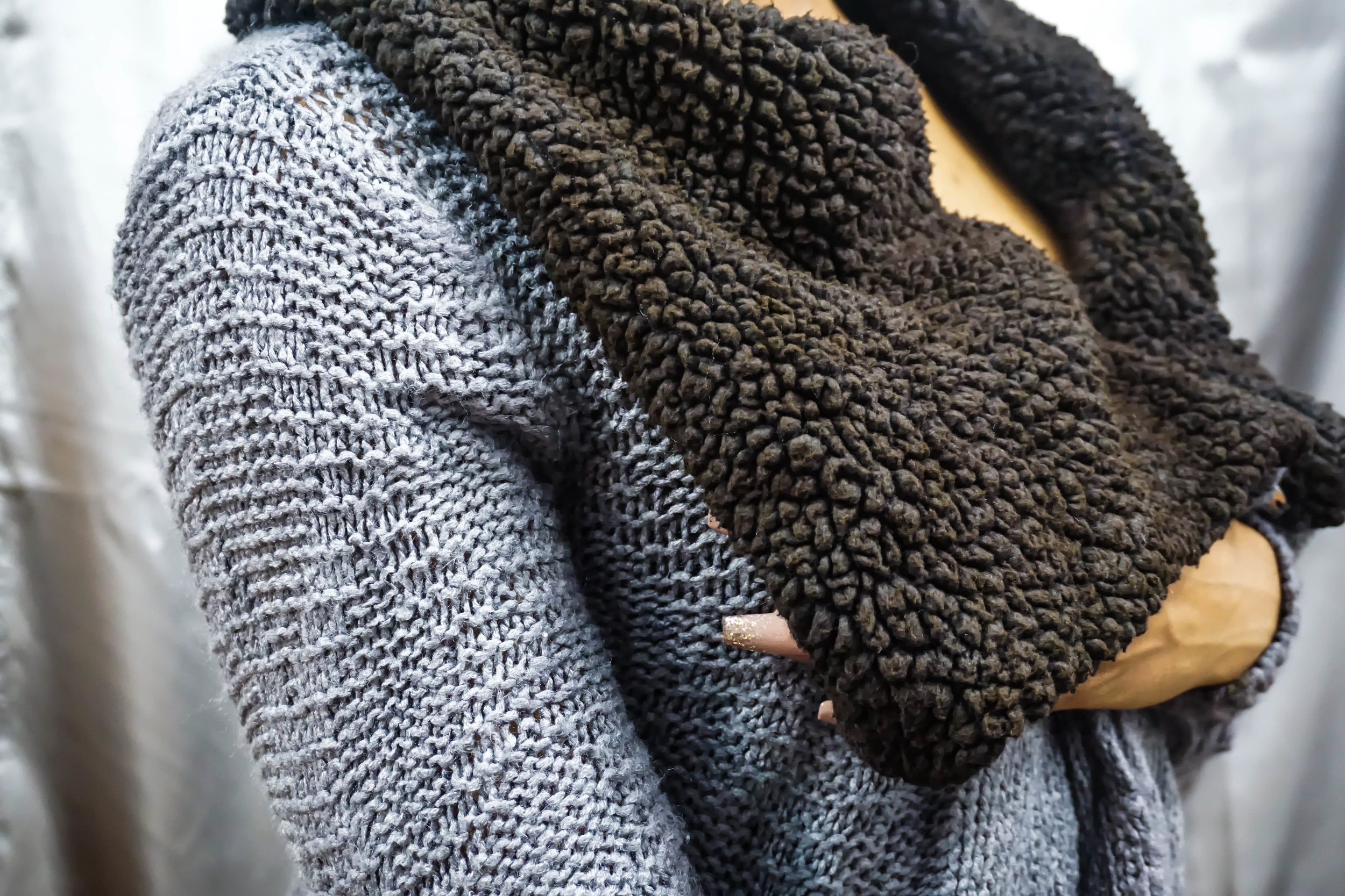 If you look closely, you can see that the dye came out a tad bit uneven. You have to look hard enough! One part of the sweater (the polyester) took really well to the dye, but body (the acrylic) looks more gray than anything. Supposedly, acid dyes work better on acrylic materials.