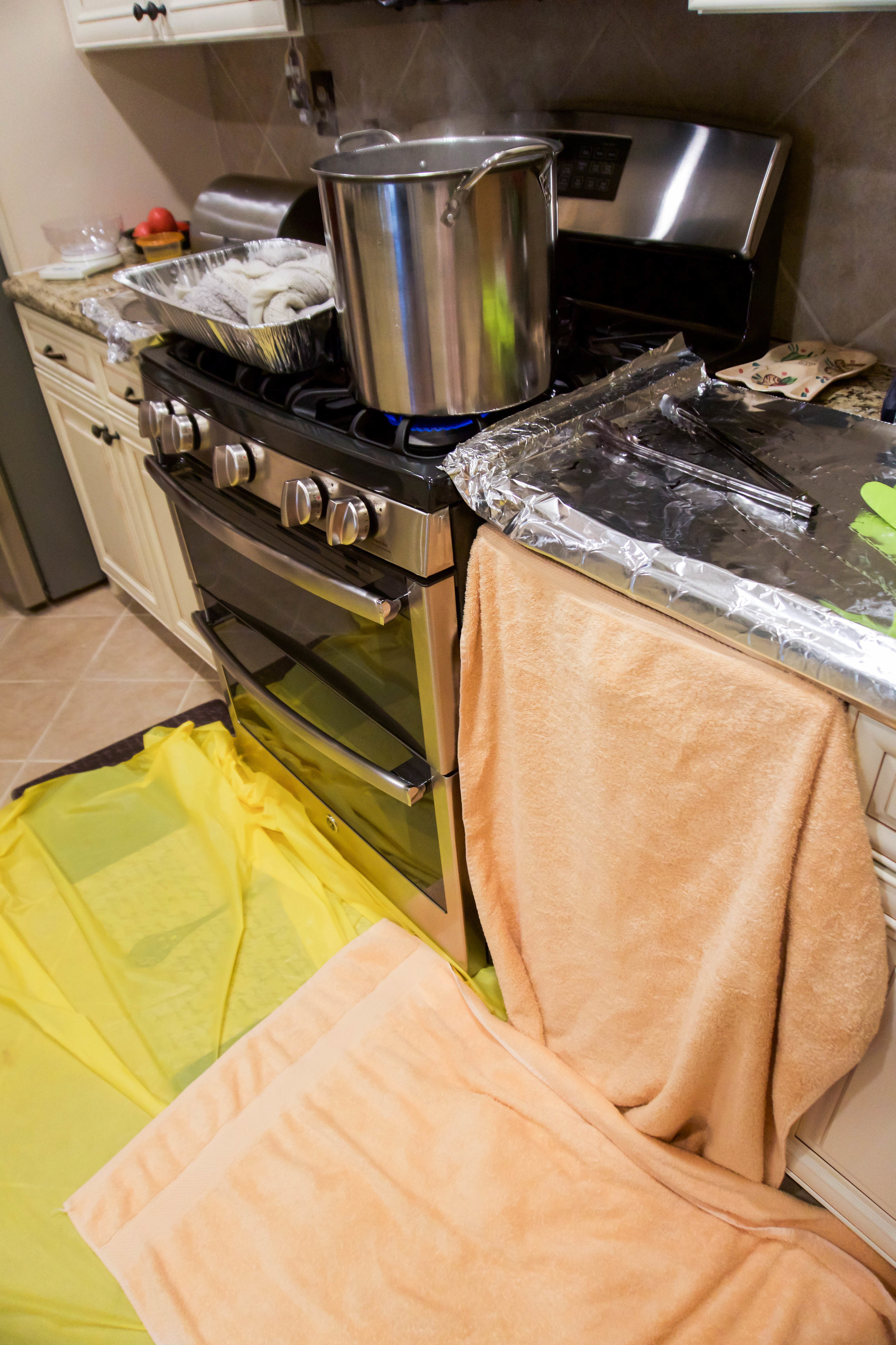 Once I started, I realized I would need reinforcements (A.K.A. more towels and foil) to protect the kitchen from stray dye splatter. Better be safe than annoyed at that one spot you can't clean up!