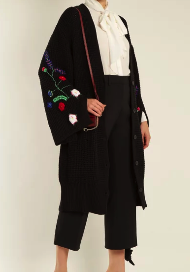 Preen Line Ada oversized floral-embroidered knit cardigan