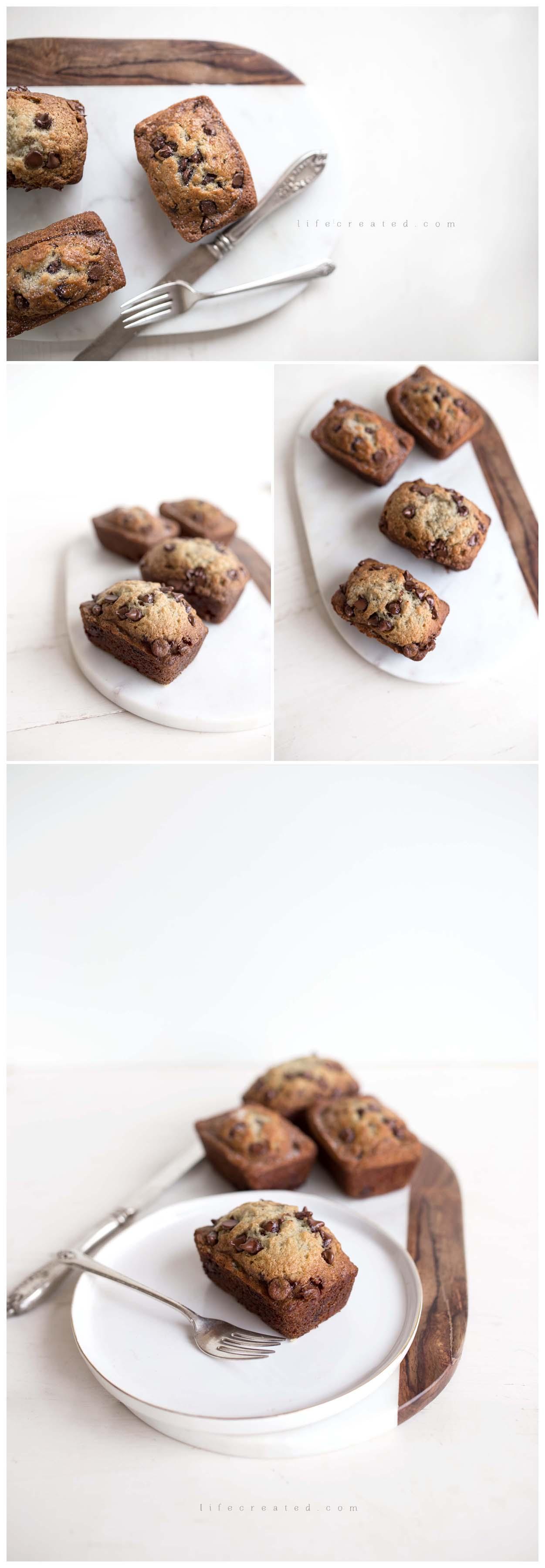 food photography, Chocolate chip banana bread