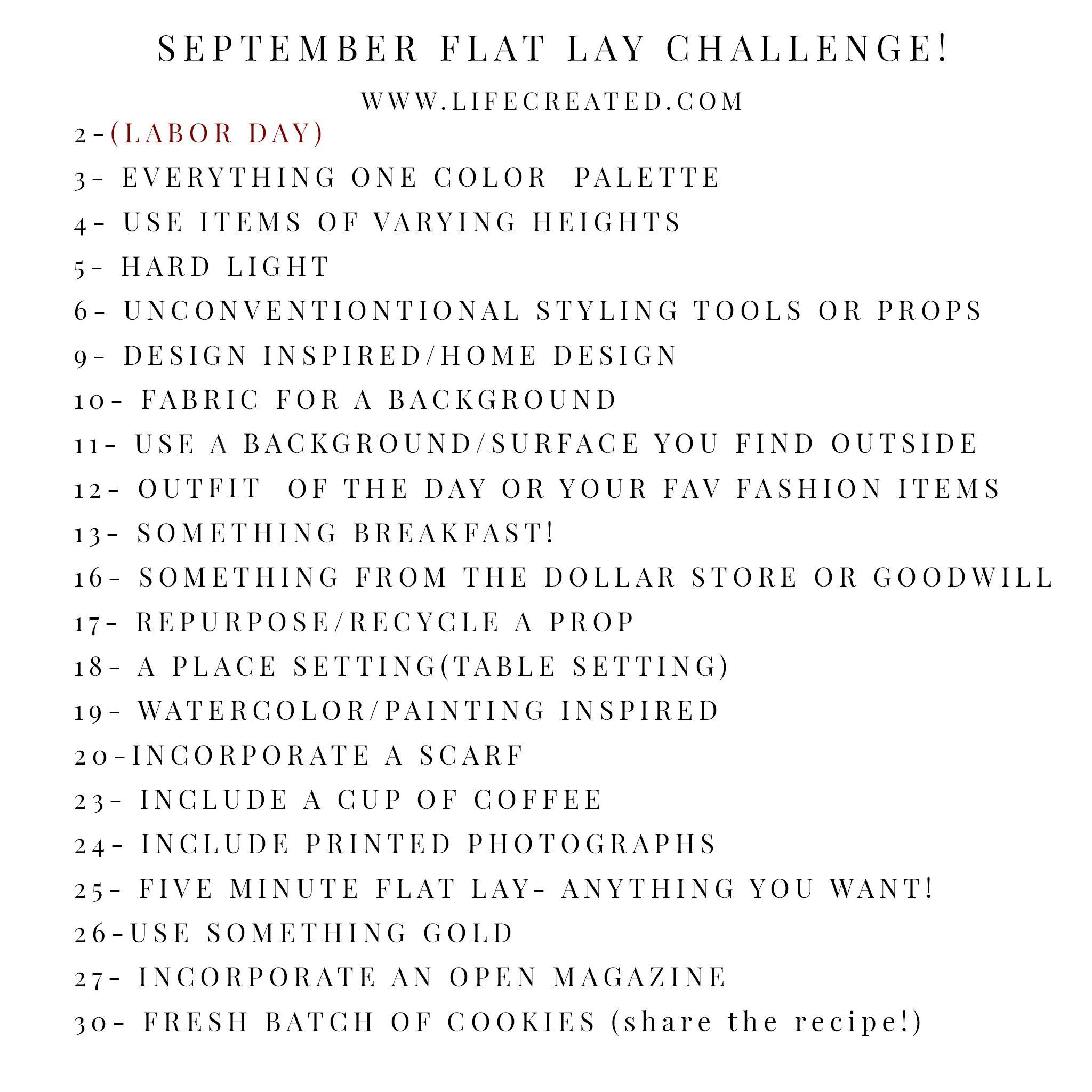 FLAT LAY CHALLENGE
