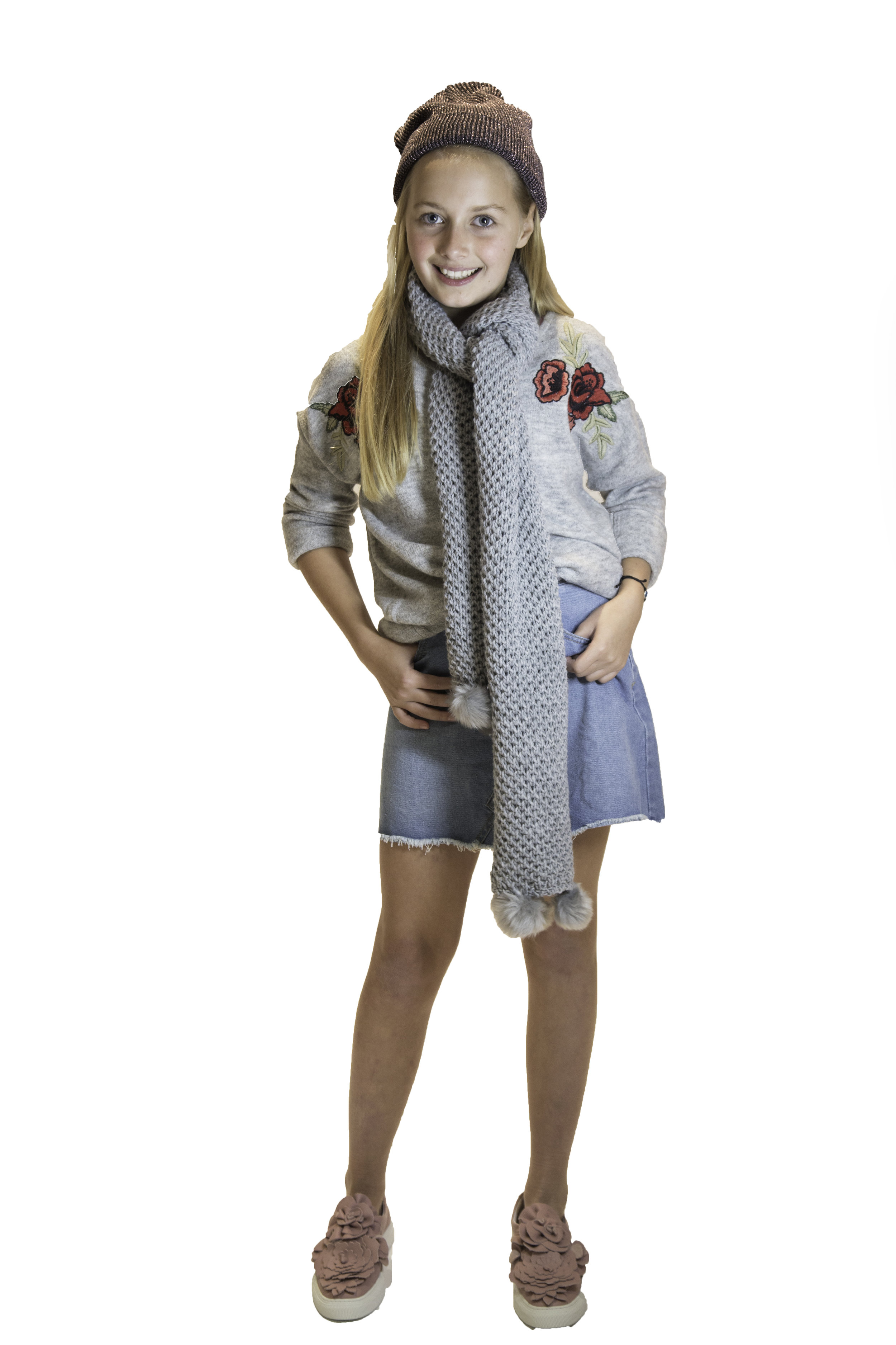 COTTON ON /  DENIM SKIRT  /  $34.95  CROSSROADS /    GREY SCARF  /  $29.95  COTTON ON /  METALLIC BEANIE  /  $9.95  WITTNER SHOES /  DETAILED SNEAKERS  /  $199.99