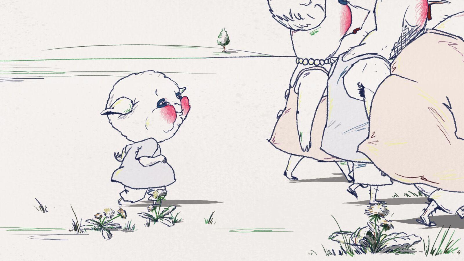 TRANCHE DE CAMPAGNE de Hannah Letaif, 2015, Animation, 7'   Le soleil brille sur la campagne. Une famille d'animaux se trouve un endroit plaisant pour pique-niquer. À proximité, une bête broute paisiblement. L'ambiance bucolique de ce déjeuner sur l'herbe change rapidement.