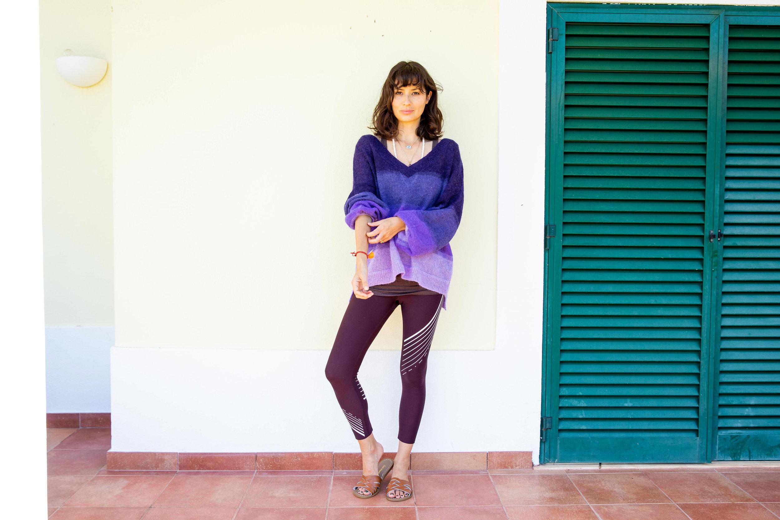 Nimble Activewear leggings ,  Charli jumper ,  Salt-Water sandals