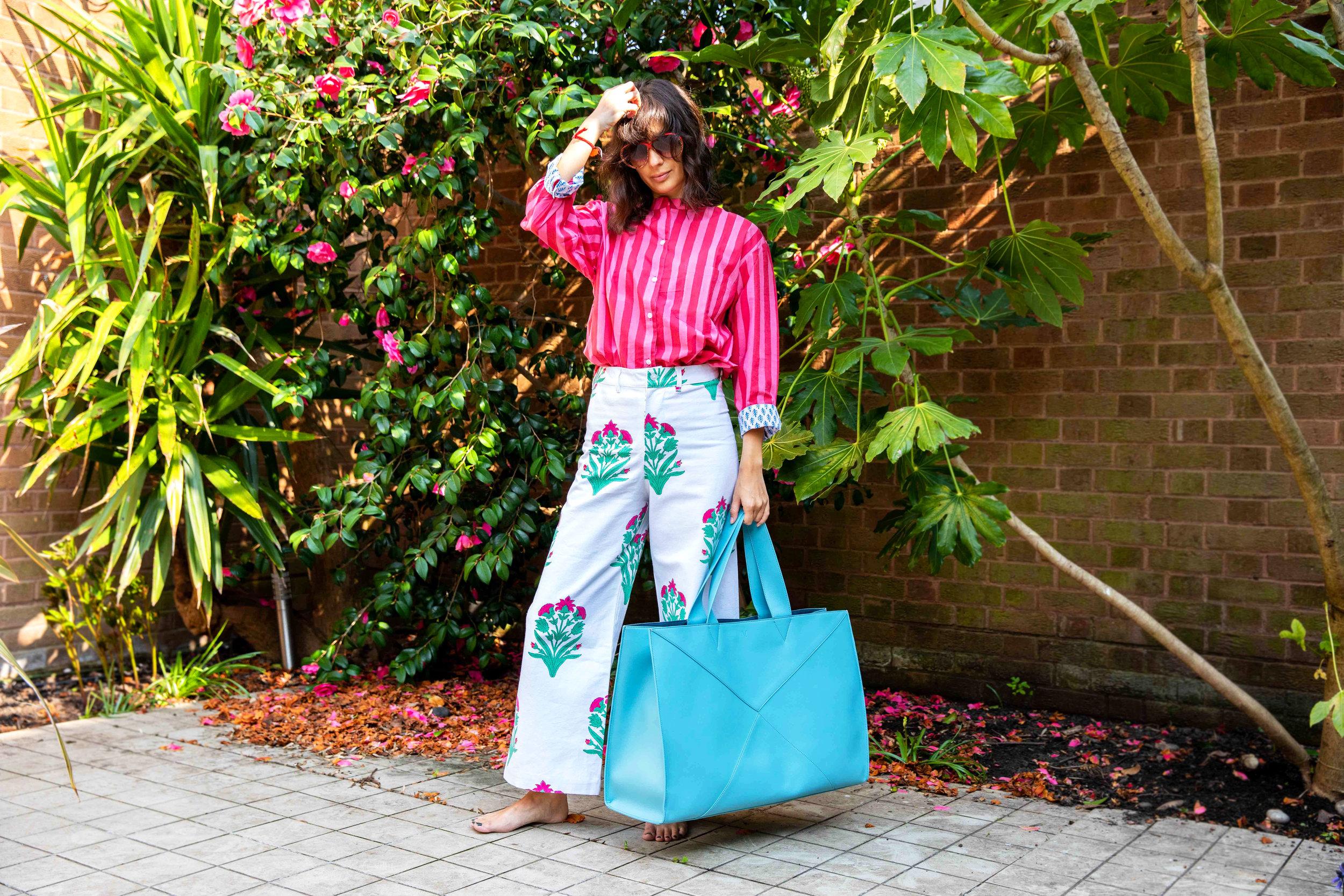 SZ Blockprints  top  &  trousers , V by Townsley  bag , vintage sunglasses