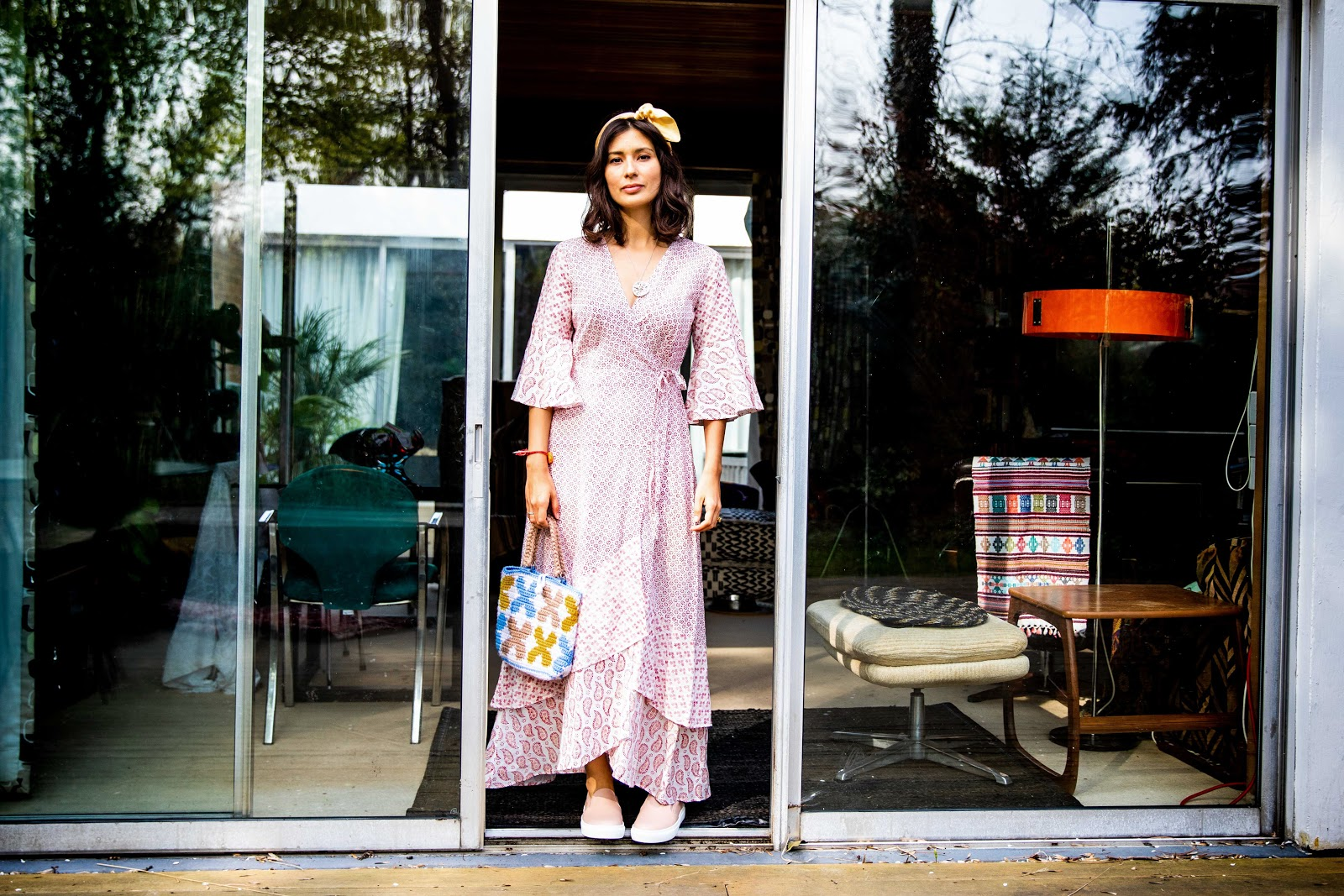 People Tree  dress , Seven Feet Apart  shoes , vintage headscarf from my Great Aunt Joan, knitted bag from a women's co-op in India & Alexandra Hakim  earrings