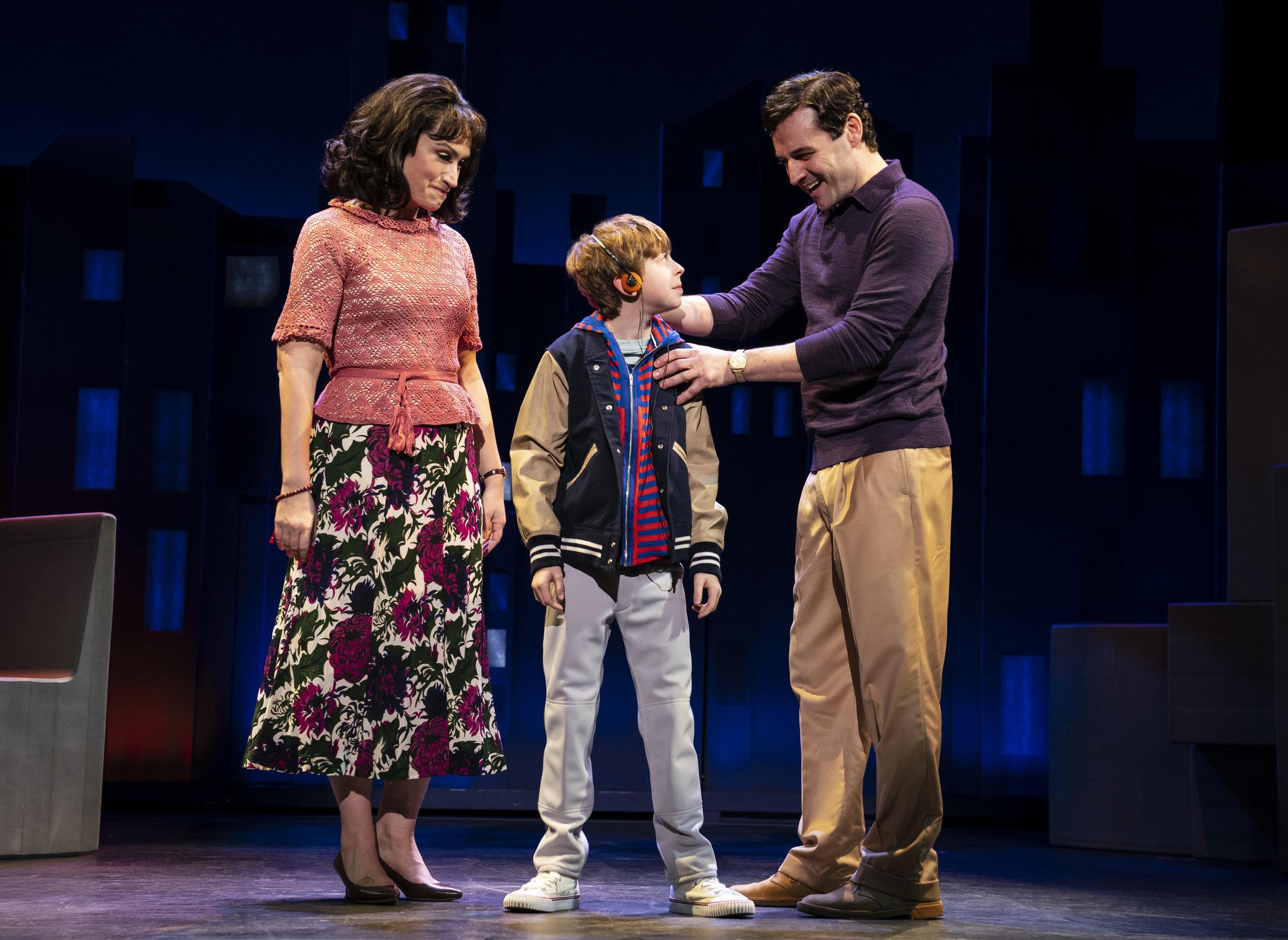 Eden Espinosa, Thatcher Jacobs and Max in Falsettos