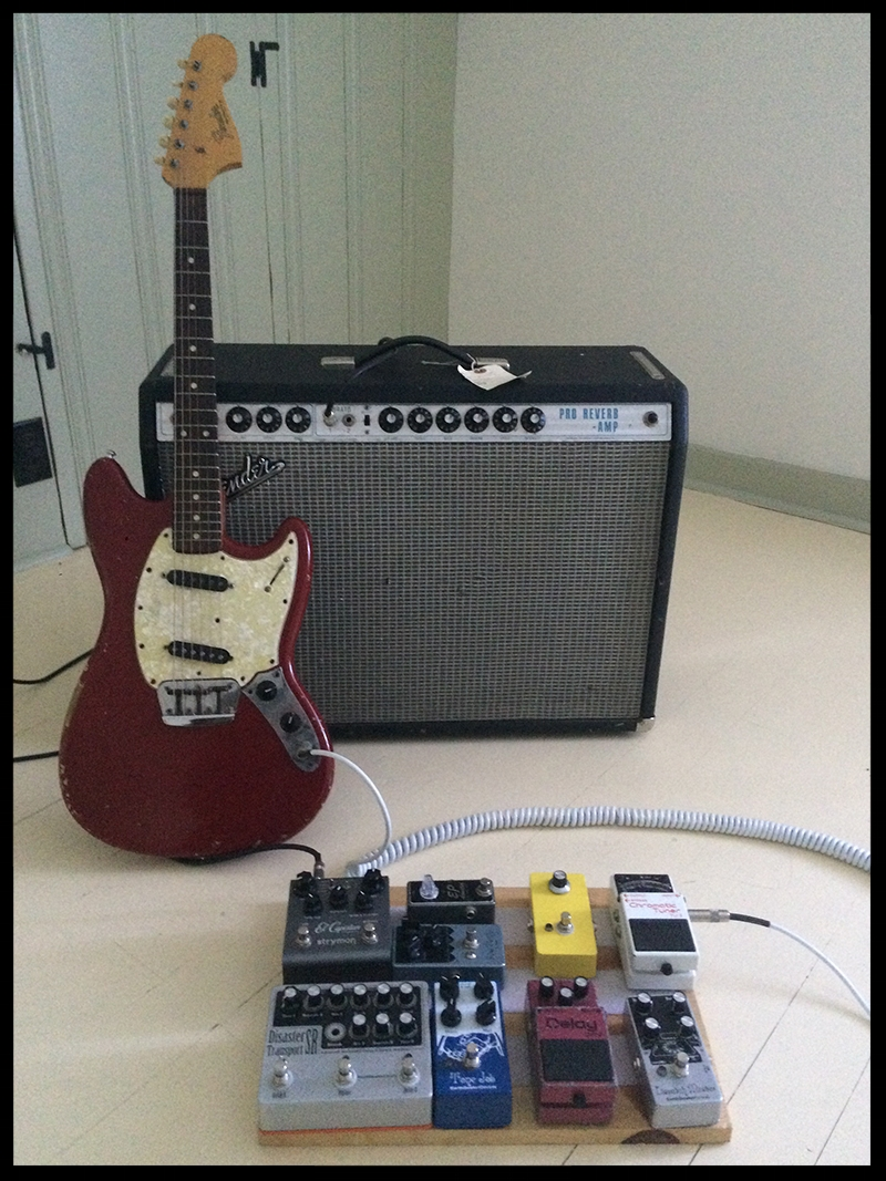 Amp - 1972 Pro Reverb    Guitar - 1966 Musicmaster (modded w 70s tele pickup in bridge    Pedal Order:    Boss TU-2     Dispatch Master     Boss DM-2     Tone Job      Disaster Transport SR      Speaker Cranker     Pulse Machine    Xotic EP Booster    Strymon El Capistan