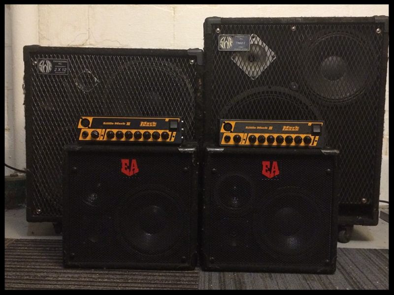 2 MarkBass Little Mark II bass heads    2 Euphonic Audio VL-108 Cabinets (solo gigs and studio)    SWR Triad [bass side] SWR 212 [melody side] (full band gigs)
