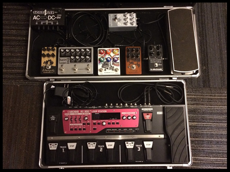 Bass Side - EQD Talons and Electro-Harmonix Little Big Muff    Melody Side - EQD Bit Commander, Rainbow Machine, Disaster Transport Sr., Afterneath, TC Electronics Dark Matter, Ernie Ball Volume Pedal.