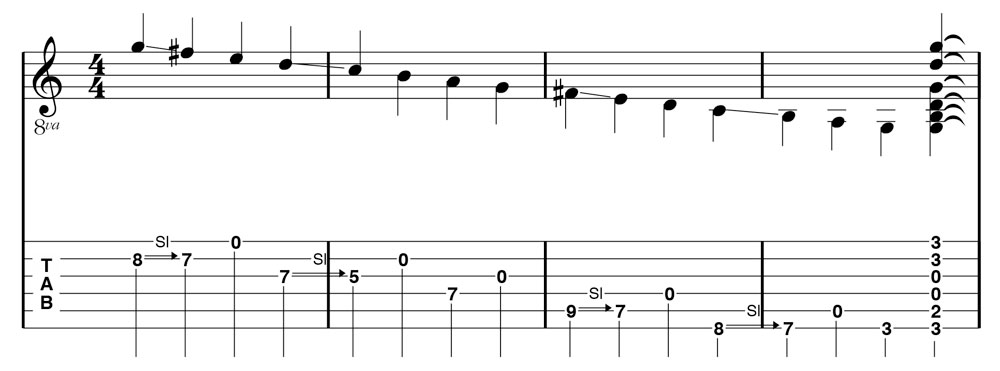 Figure 6: G Major Scale cascade extended