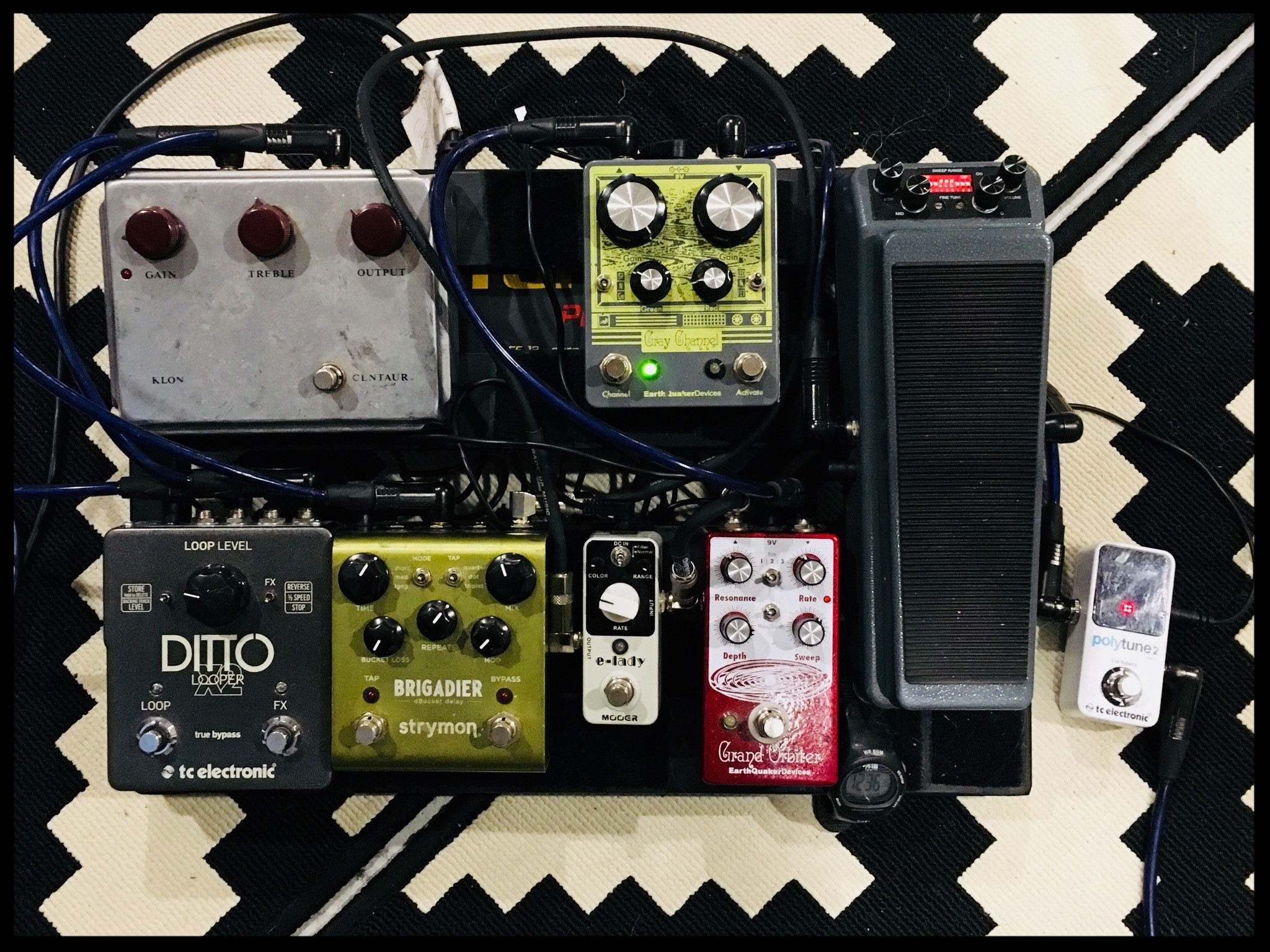 Ripley Johnson's pedalboard with Wooden Shjijps. Photo: Ripley Johnson
