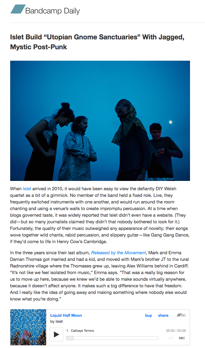 Bandcamp Daily, interview with Laura Snapes.