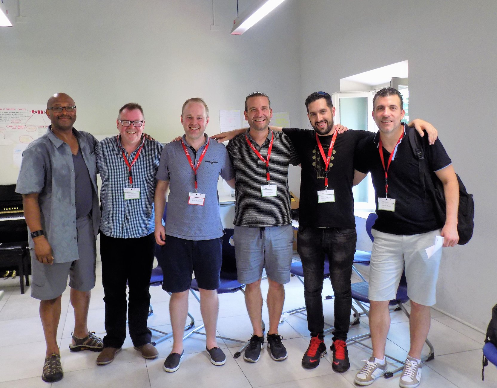 Douglas Mapp, David Heyes, Geoff Chalmers, Jason Heath, Andres Martin and Martin Rosso in Lucca at the BASS EUROPE 2018 convention.