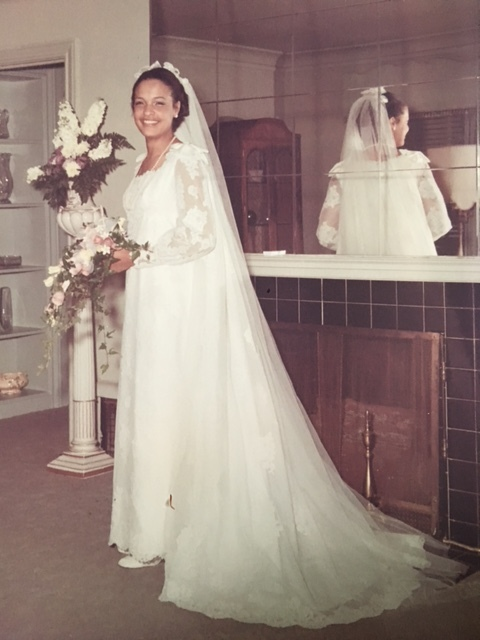 Amani's mother Fran on her wedding day